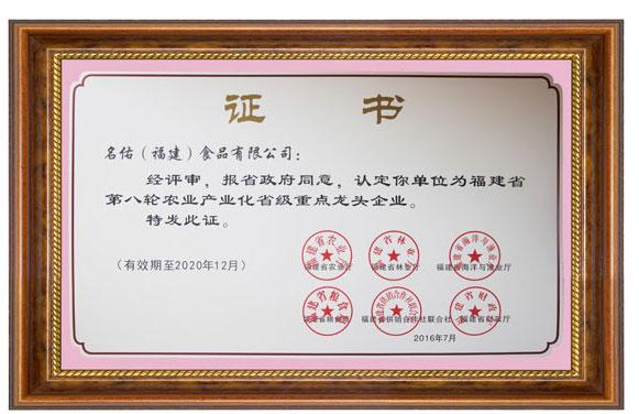 2016省级龙头企业证书
